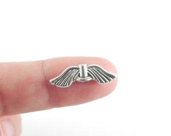 20 Angel Wings Beads - Antiqued Silver - Tibetan Style - 21mm x 6.5mm - Lead Free - Nickel free
