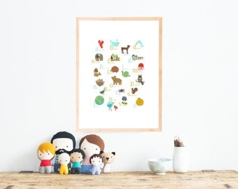 Italian Alphabet Print 11x14 Nursery Wall Art, Nature Themed, Kid's Decor, Gender Neutral Nursery, ABC, Woodland Ani