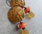 Sweet Drops ... Copper Charm and Lampwork Wire-Wrapped Boho, Woodland Earrings