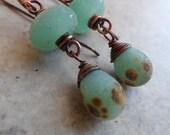 Seafoam & Sand ... Textured Lampwork and Copper Dangle Boho, Rustic, Beachy Earrings