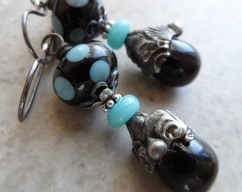Seeing Spots ... Artisan Lampwork, Glass Headpins with Decorative Tinwork and Sterling Silver Wire-Wrapped Boho, Polka Dot Earrings