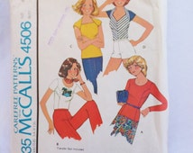 Vintage Top Pattern McCall's 4506 Carefree Pattern Size Petite for Stretch Knits Women's Size 6 Size 8 Bust 30 Bust 31 Fitted TShirt Pattern