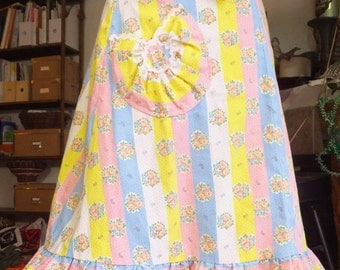 Adorable Vintage Pastel Skirt Retro 1960's 1970's Flare Skirt Wrap Skirt Floral Skirt Pink Yellow Baby Blue Rose Skirt Kawaii Skirt