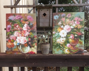 Impressionist Floral Still Life Painting Pair Floral Home Decor Colorful Cottage Chic Decor Flower Painting Still Life Floral Painting