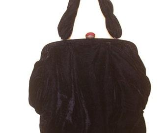 Velvet purse WITCHY bag jewel Clasp stevie nicks 90s Vintage Goth black festival witch floral 80's evening costume handbag halloween