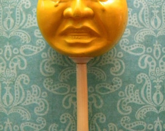 Antique Celluloid Baby Rattle Anthropomorphic Moon Face Happy and Sad