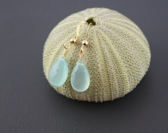 Solid Gold Earrings, Aqua Chalcedony Drop Earrings, Blue earrings, Small Earrings, delicate earrings, something blue, Yellow Gold Earrings