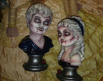 Children Of The Night Vampire Busts Vintage Repaint