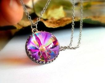 Hippie Necklace Real Flower Jewelry Unique Glass Pendant
