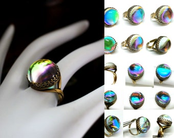 Crystal Ball Glass Ring, Magic Dichroic Glass Ball Ring, Colorful Gazing Ball, Large Statement Ring, Fun Gypsy Jewelry, Goth Looking Ball