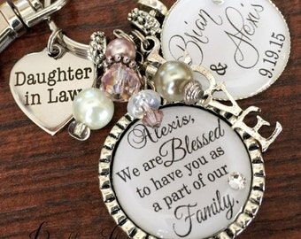 Daughter in law gift, Bridal bouquet charm, PERSONALIZED wedding, Daughter in law wedding gift, blessed to have you as a part of our family