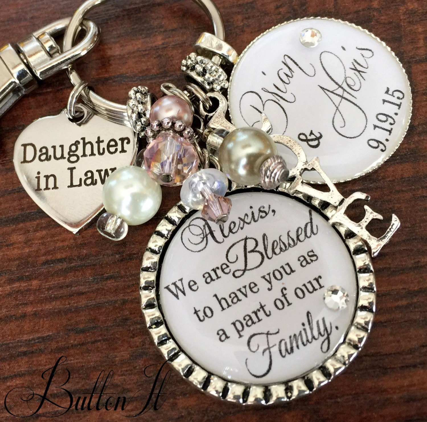 Gifts For Inlaws At Wedding: Daughter In Law Gift Bridal Bouquet Charm PERSONALIZED