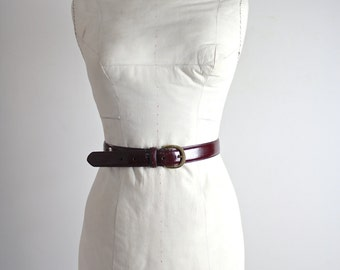 Vintage Leather Coach Belt • Oxblood Leather Coach Belt • Oxblood Leather Skinny Belt • Vintage Coach Belt • 1980s Coach Belt • Skinny Belt
