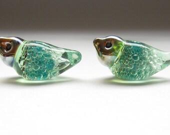 bubble birds matched earring pair artisan lampwork glass beads teal green transparent