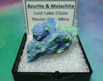 Rare AZURITE And MALACHITE Crystal Mineral Specimen In Perky Box From New Mexico USA