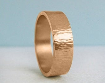 1.8mm x 7mm Men's Gold Wedding Band | Rustic Tree Bark Hammer Texture| 1.8mm Thick Flat Band | Recycled 14k 18k Gold