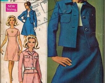 1968 Simplicity 7589 Retro Mod Dress & Jacket Sewing Pattern Vintage Size 12 Designer Fashion