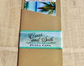 Boarding Pass Invitation or Save the Date Design Fee (Tropical Paradise Beach Design with Ocean Graphic Wrap)