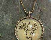 Antlers - vintage dictionary illustration pendant necklace