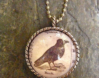 Rook - vintage dictionary illustration pendant necklace
