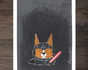 "Corgi ""Corg Vader"" Art Print"