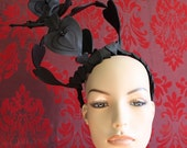 Queen of Black Hearts - Matte Black Leather Heart and Glass Jet Bead Crown - To Order.