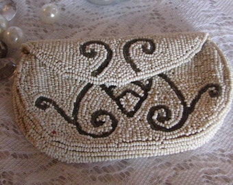 Vintage Hand Sewn Beaded Coin Purse