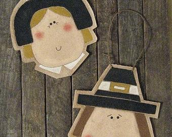 Pilgrim Ornaments EPATTERN...country primitive doll craft thanksgiving ornie digital download sewing PATTERN...pdf 1.99