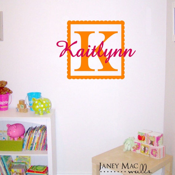 Monogram Wall Decal Scallop Square with Custom Name - Vinyl Wall Art Girls Bedroom Decor - CM112