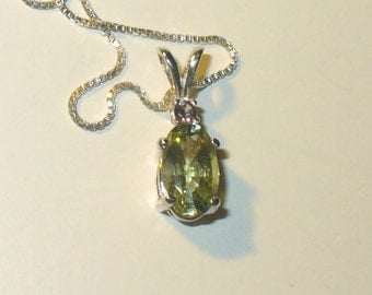 Genuine Light Green Tourmaline Pendant Necklace in Sterling Silver with Claret Tourmaline Accent