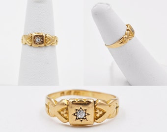 ON SALE Antique Victorian 18K Gold & Diamond Ring, Chester, 1898, Ornate, Promise, Wedding, Engagement, Size 4 1/2, Pinky, Gorgeous!! #b519