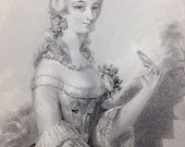 1849 Engraving Lady of the Court of Louis XVth