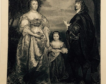 1850 Engraving James Stanley, 7th Earl of Derby, and Charlotte De La Tremouille, His Countess