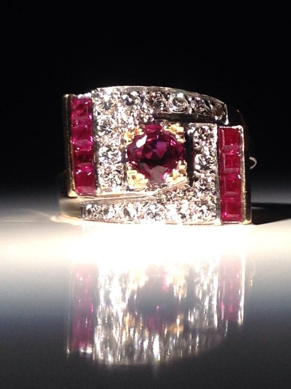 14 KT Gold Ruby Diamond Cocktail Ring Size 6 1/2