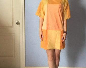 Vintage Go Go Twiggy Dress - Colorblock 1960s Minidress - Small