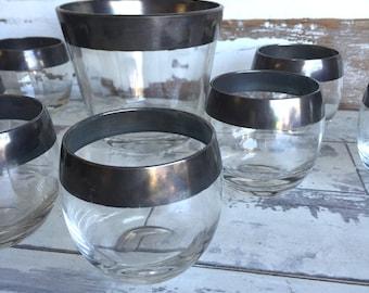 Vintage Roly Poly Silver Rim Glasses Set 8 Ice Bucket - Dorothy Thorpe Midcentury Mad Men
