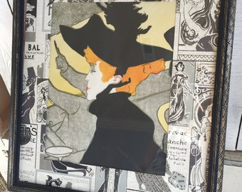 Vintage Toulouse Lautrec Poster - Framed - Fragment - Divan Japonais - Matted