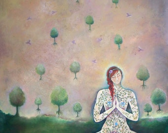 SALE   Mindfulness Large Oil Painting by Dee Sprague