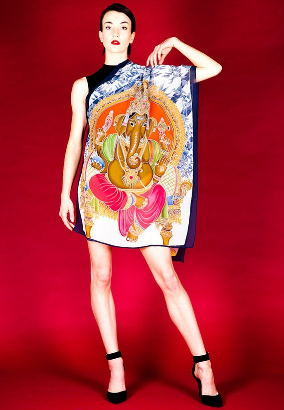 Batik Hand Painted Silk Scarf. Buddha and Ganesha with bamboo. Painted on Translucent Chiffon Silk. Size  26in. x76in.