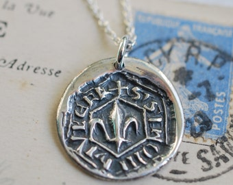 rustic fleur de lis wax seal necklace … faith, wisdom, valor - fine silver medieval wax seal jewelry