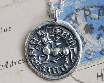 rustic horse wax seal necklace pendant - equestrian jewelry - fine silver medieval wax seal jewelry