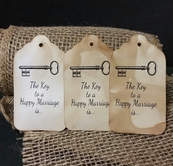 The Key to a Happy Marriage is  LARGE TAGS  Favor Tag choose the amount you would like