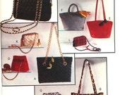 UNCUT Lined Handbags Purses Sewing Pattern Butterick 6382