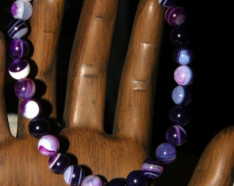 "Namaste Purple Striped Agate ""Emotion"" Bracelet"