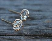 Raw herkimer diamond earrings - gold filled - quartz studs - herkimer stud earrings - crystal earrings