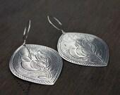 Large ethnic earrings - dangle earrings - tribal - sterling silver hooks - stamped design - southwestern