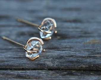 Raw herkimer diamond earrings - gold filled - quartz studs - herkimer stud earrings - crystal earrings