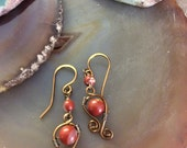 Red Jasper Wire Work Dangle Earrings Hammered Antique Bronze Ear Wires       1.99 Shipping USA