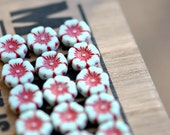 Little Orchids - Czech Glass Beads, Opaque Pale Mint, Red Picasso, Hawaiian Flowers 12mm - Pc 6