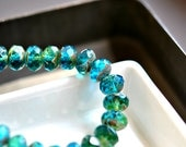 Last Listing - Tranquil Waters - Czech Glass Beads, Translucent Capri Blue, Emerald Green, Firepolish, Facet Rondelles 10x6mm - Pc 6